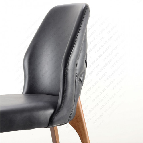 Ven Ahşap Sandalye Antrasit Gri ( Deri )