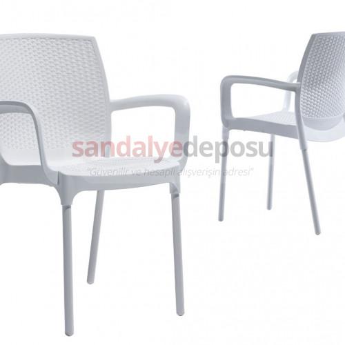 Manyas Kollu PP Alüminyum Ayaklı Sandalye Beyaz