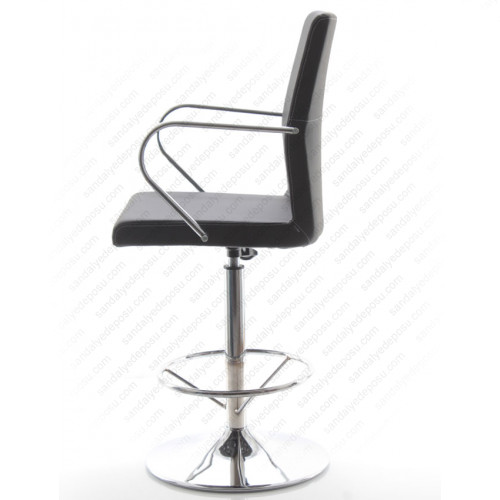 Compan Kollu Tepsi Ayaklı Bar Sandalyesi Siyah