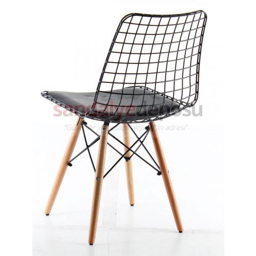 Aymes Ahşap Ayaklı Metal Sandalye Siyah
