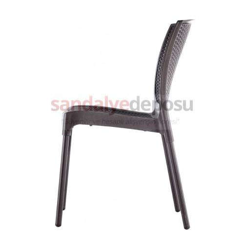 Manyas PP Alüminyum Ayaklı Sandalye Kahve