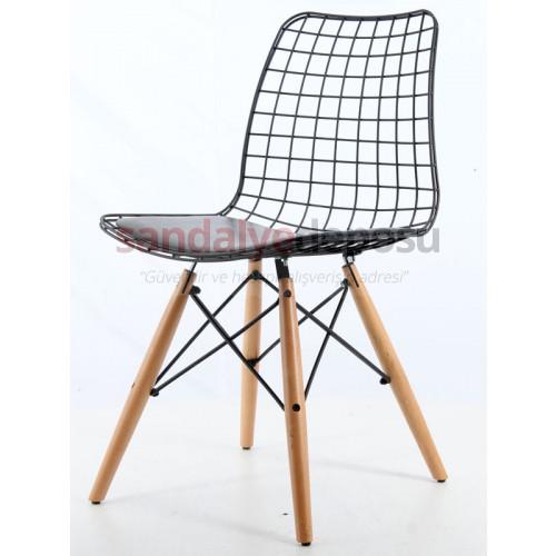 Taylor Ahşap Ayaklı Metal Sandalye Turuncu