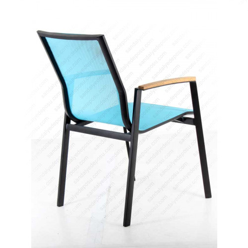 Sunny kollu alüminyum dış mekan sandalyesi Turkuaz