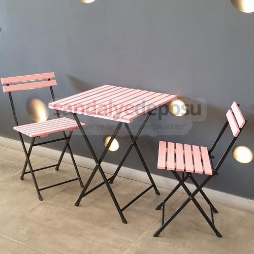 Ayaz Ahşap Masa Sandalye Takımı (Pembe)