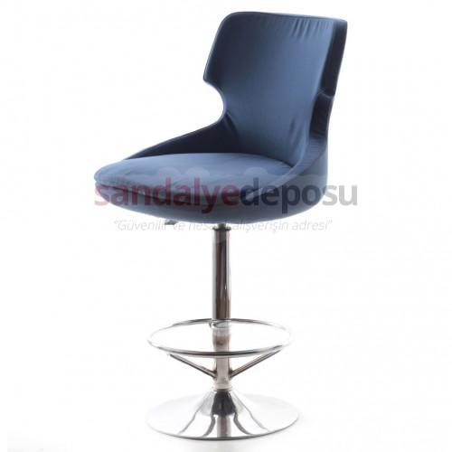 Simge Tepsi Ayaklı Krom Bar Sandalyesi (Kumaş 447)