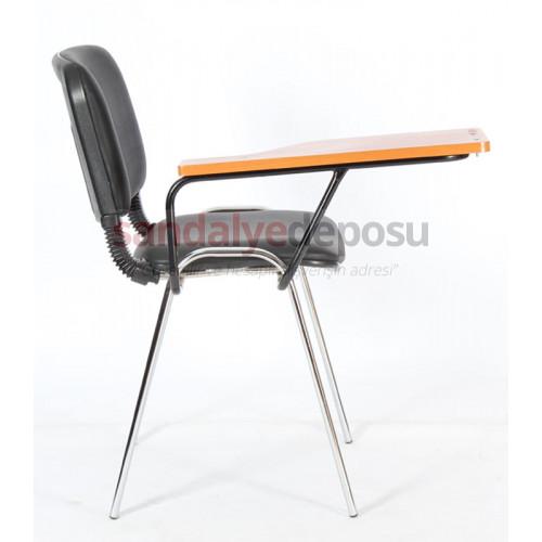 Form Mercan Tablalı Krom Konferans Sandalyesi Siyah