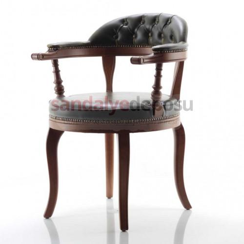 Hazar Klasik Ahşap Sandalye (Eskitme Yeşil)