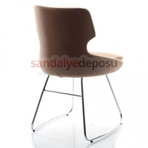 Simge Krom Transmisyon Ayaklı Sandalye (Kumaş 419)