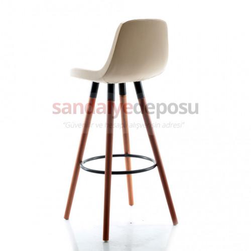 Gabriel Ceviz Ahşap Ayaklı Bar Sandalyesi (Deri 15)