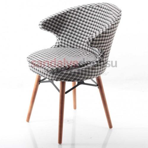 Simge 2 Ceviz Ahşap Ayaklı Sandalye (Kazayağı 11)