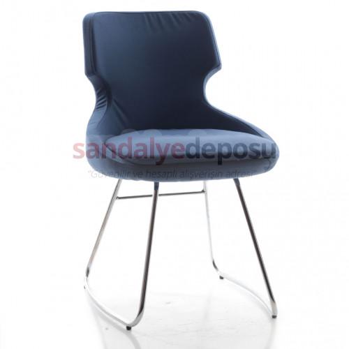 Simge Krom Transmisyon Ayaklı Sandalye (Kumaş 447)