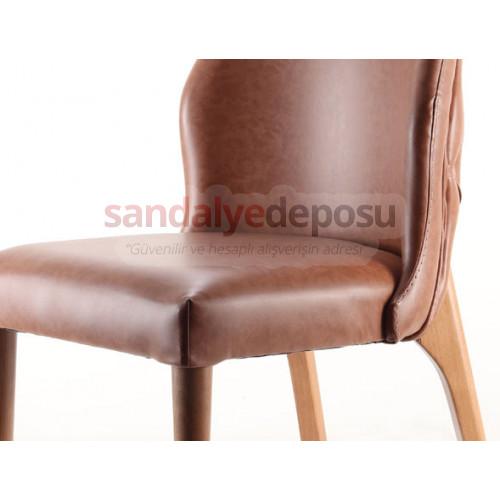 Ven Ahşap Sandalye Açık Kahve ( Deri )
