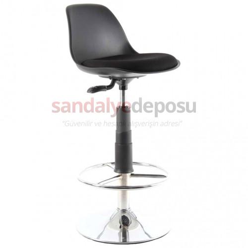 Swella Çemberli Bar Sandalyesi Siyah