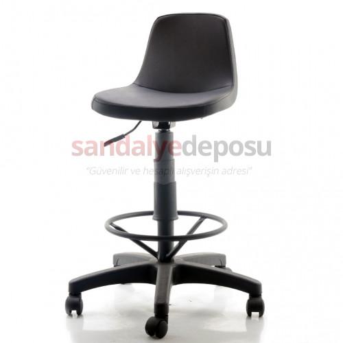 Gabriel Plastik Ayaklı Bar Sandalyesi (Deri 01)