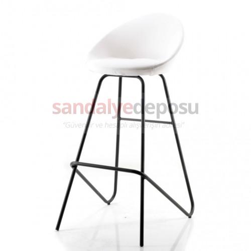 Gloria Boyalı Eyfel Ayaklı Bar Sandalyesi (Beyaz Deri)