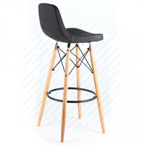 İmera Ahşap Ayaklı Bar Sandalyesi Siyah
