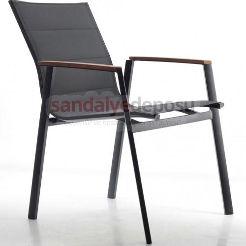 Sunny 2 kollu alüminyum dış mekan sandalyesi siyah