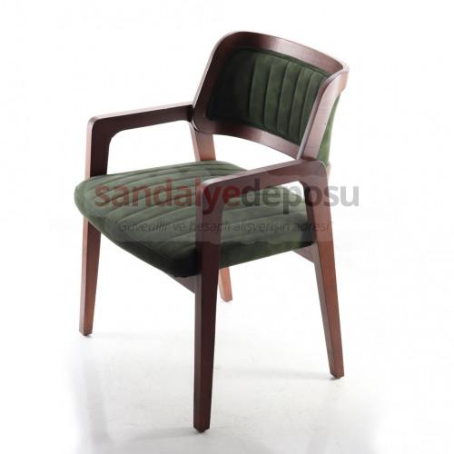 Ege Kollu Ahşap Sandalye Deri