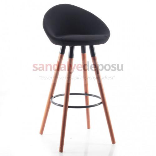 Gloria Ceviz Ahşap Ayaklı Bar Sandalyesi (Kumaş 92)