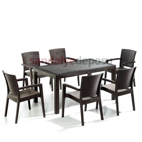 Nazia camlı masa sandalye takımı kahve 150x90