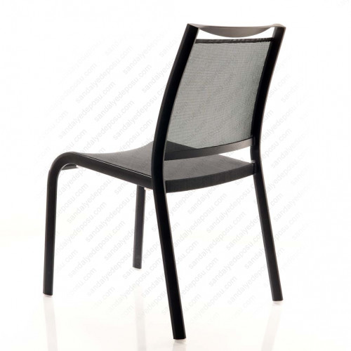 Geyve kolsuz fileli alüminyum sandalye siyah