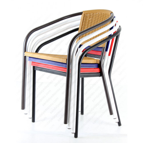 Behamo PP Metal Boru Ayak Sandalye Kırmızı
