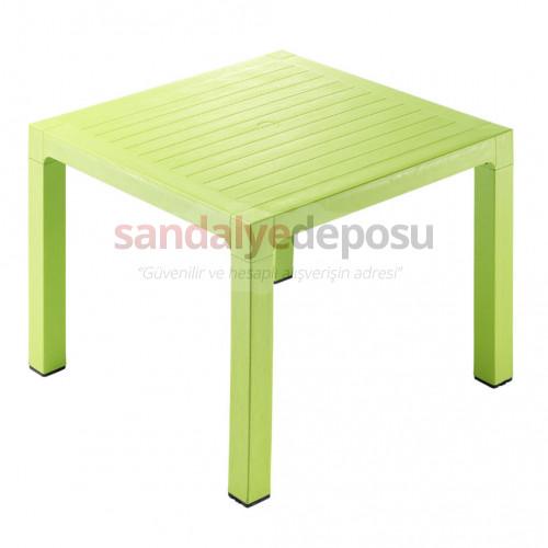 90x90 Ahşap Desenli PP Plastik Masa Yeşil
