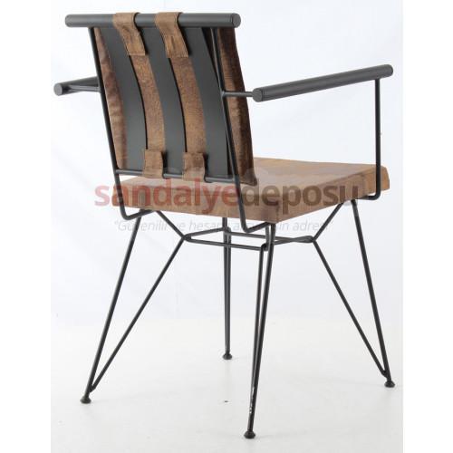 Bergama Metal Kollu Sandalye Kahve