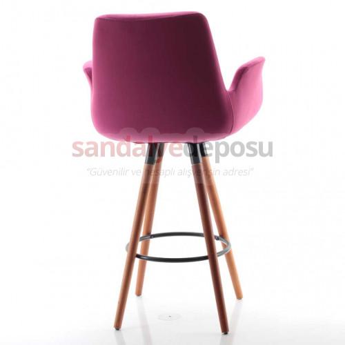 Montera Ahşap Ayaklı Bar Sandalyesi Kumaş 416