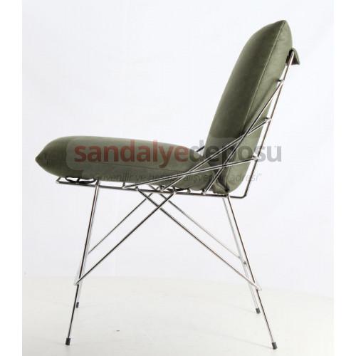Urla Döşemeli Kromlu Metal Sandalye