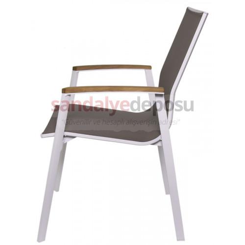 Sunny kollu alüminyum dış mekan sandalyesi kahve