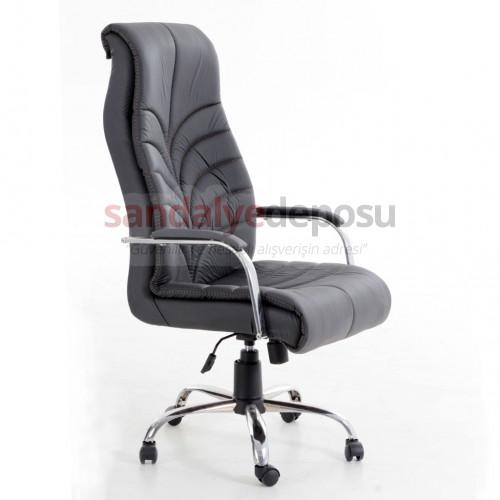 Ürgüp müdür koltuğu krom ayaklı siyah deri