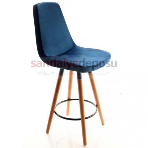 Gabriel 2 Ceviz Ahşap Ayaklı Bar Sandalyesi ( Kumaş 447 )