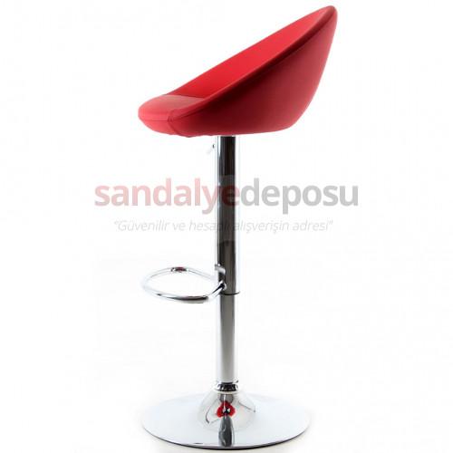 Gloria Bar Sandalyesi Kırmızı Deri