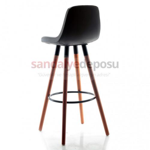 Gabriel Ceviz Ahşap Ayaklı Bar Sandalyesi (Deri 01)