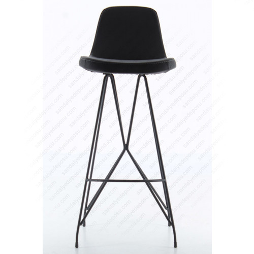 Gabriel Boyalı Metal Ayaklı Bar Sandalyesi Siyah