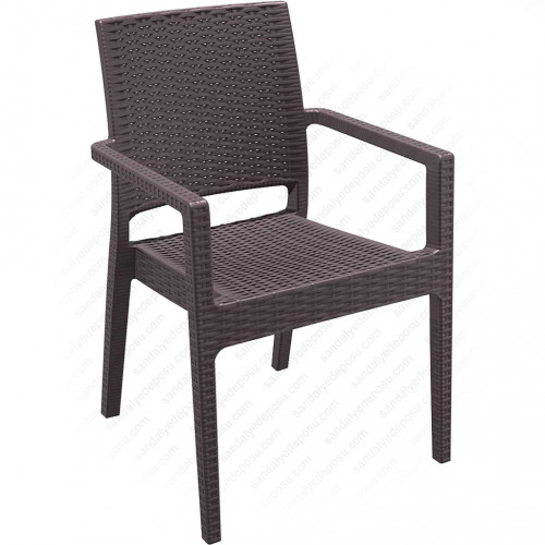 İbiza Kollu Rattan Sandalye Kahve