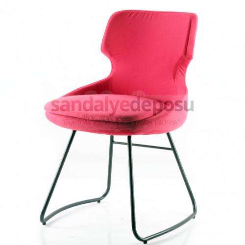 Simge Boyalı Transmisyon Ayaklı Metal Sandalye (Kumaş 442)