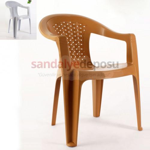 Hasırlı kollu plastik sandalye Teak