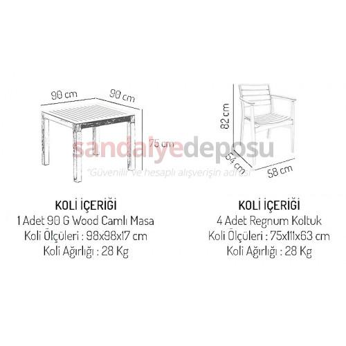 Oslo Masa sandalye takımı beyaz Krem 90x90