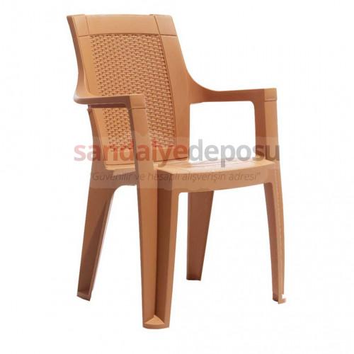 Foça Kollu Plastik Sandalye Teak