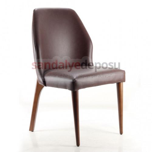 Ven Ahşap Sandalye Kahve ( Deri )