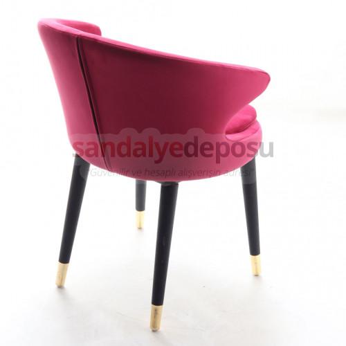 Simge 2 Siyah Ahşap Ayaklı Prinç Uclu Sandalye ( Kumaş 416 )