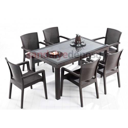 90x150 PP Rattan Camlı Masa Sandalye Takımı Kahve