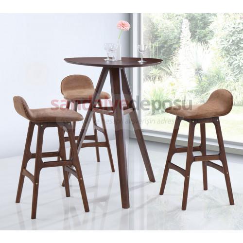 Aveo Ahşap Bar Masa Sandalye Takımı 2+1