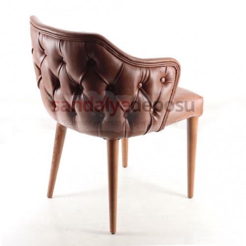 Pandora Kollu Ahşap Sandalye Açık Kahve  ( Deri )