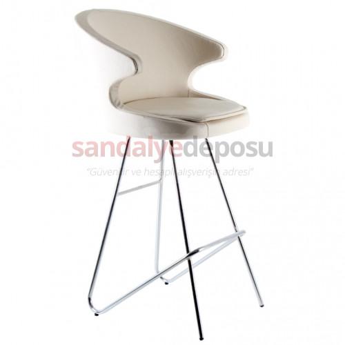 Simge 2 Krom Eyfel Ayaklı Bar Sandalyesi Krem