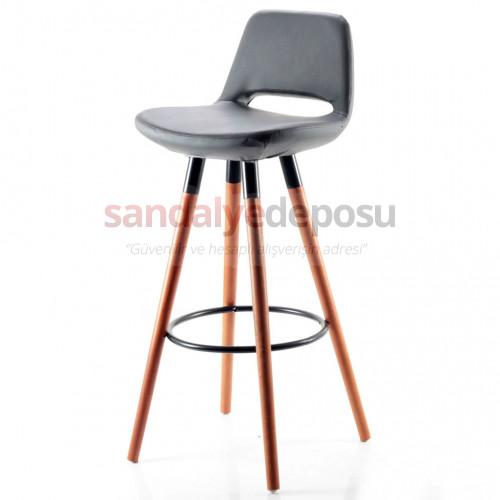 Rasko Sabit Ayaklı Bar Sandalyesi (Koyu Gri)