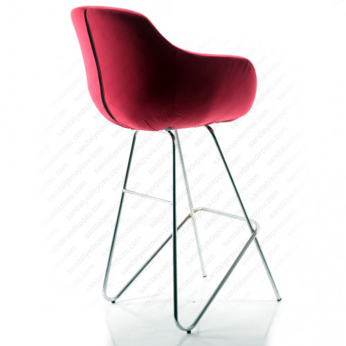 Focus Geniş Krom Eyfel Ayaklı Bar Sandalyesi (Kumaş 442)
