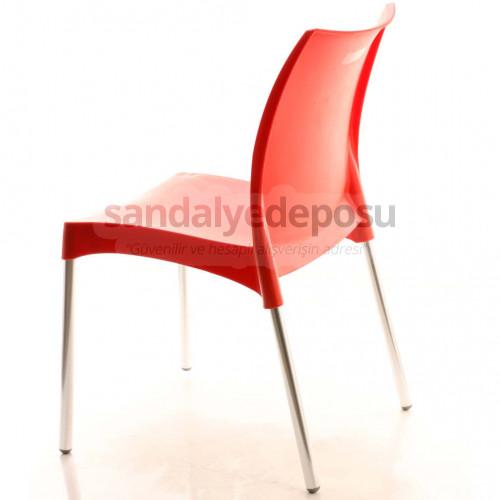 Crey Alüminyum Ayaklı Plastik Sandalye Kırmızı